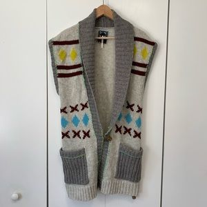Free People Tribal Native Lambswool Cardigan Sz L